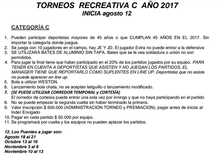 reglamentotorneosoftballenvigadorecreativac2017